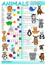 English Worksheet: Animals - crossword (B&W + KEY included)