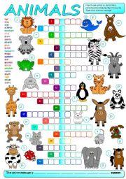 English Worksheets: Animals - crossword (B&W + KEY included)