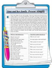 English Worksheets: Reading comprehension. Jane and her family.