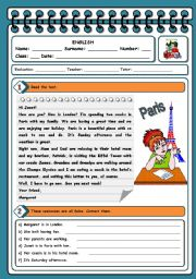 English Worksheets: PRESENT CONTINUOUS - TEST (4 PAGES)