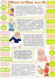 English Worksheet: When ladies meet