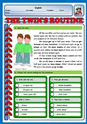 English Worksheets: THE TWINS� ROUTINE - TEST (3 PAGES)