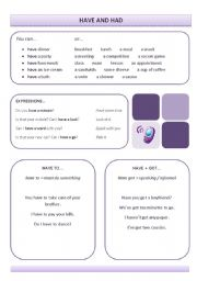 English Worksheets: Have and Had