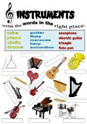 English Worksheet: instruments.