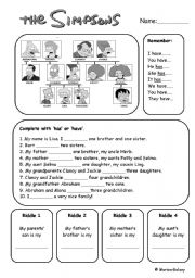 English Worksheet: Have - Has and riddles with the simpsons family members