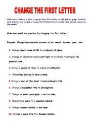 English Worksheets: CHANGE THE FIRST LETTER
