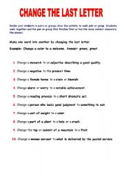 English Worksheets: CHANGE THE LAST LETTER