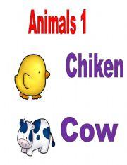 English Worksheets: Animals Flash cards
