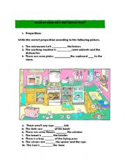 IN THE KITCHEN. PREPOSITIONS