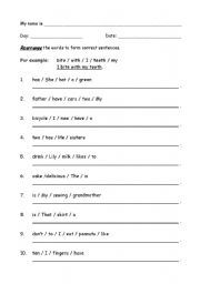 English worksheets: Re-arrange the words to form a correct ...