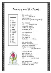 English Worksheet: Beauty and the Beast theme song - fill-in-the-blank