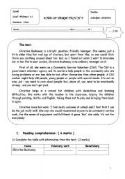 English Worksheet: End of term test N°3 ( 9th form)