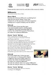 English Worksheets: Billionaire - Travie McCoy ft. Bruno Mars