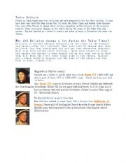 English Worksheets: information about tudor times