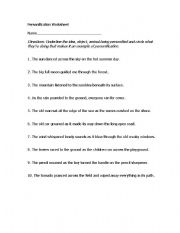 Printables Personification Worksheets english teaching worksheets personification practice
