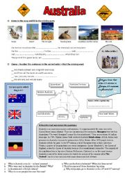 English Worksheet: Discover Australia - song, video extract and written comprehension  **editable & answers**
