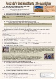 English Worksheet: Australia�s first inhabitants : the aborigines - listening and written comprehension   **audio file+script included**