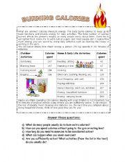 English Worksheets: BURNING CALORIES