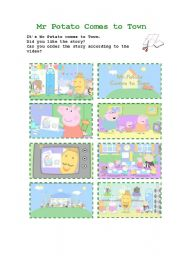 English Worksheet: Peppa Pig: Mr Potato Comes to Town