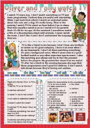 English Worksheets: Oliver and Polly watch TV