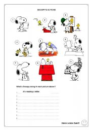 English Worksheets:  SNOOPY�S ACTIONS