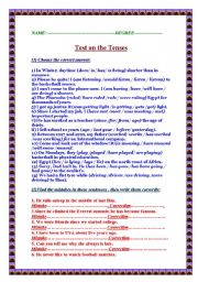 Test on the tenses