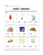 English worksheets: Long i Words