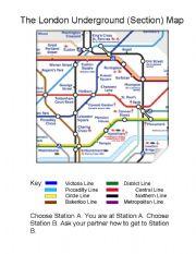English worksheet: London Underground Pairwork Activity