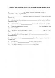 English Worksheet: in order to, so that, because of, since, as