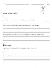 English Worksheet: 5 Paragraph Essay Skeleton