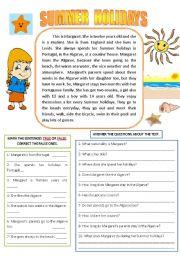 English Worksheet: SUMMER HOLIDAYS (READING AND COMPREHENSION)