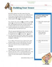reading comprehension worksheet (Building a House, wise story)