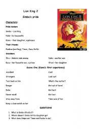English Worksheet: lion king 2