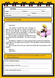English Worksheets: READING AND COMPREHENSION (4 PAGES)