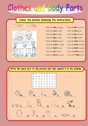 English Worksheets: Clothes and Body Parts