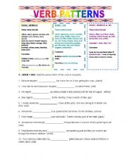 english teaching worksheets verb patterns. Black Bedroom Furniture Sets. Home Design Ideas