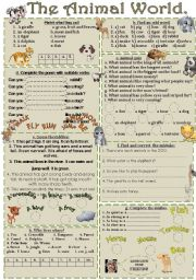 English Worksheets: THE ANIMAL WORLD. Different activites.