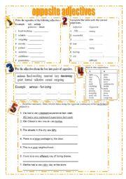 English Worksheet: opposite adjectives,negative prefixes ( 7 different tasks)