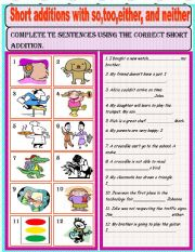 English Worksheets: Short additions-so-too-either-neither
