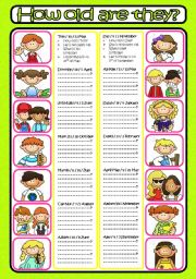 English Worksheets: HOW OLD ARE THEY? (B&W included)