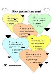 English Worksheet: How Romantic are you?