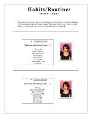 English Worksheets: Habits/Routines (Selena Gomez)