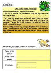 English Worksheet: PUMA - animal reading