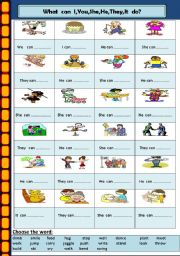English Worksheets: Actions with Pronouns