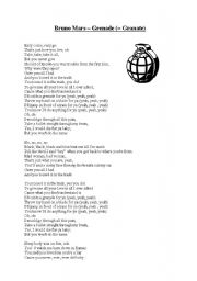 English Worksheets: Grenade Bruno Mars