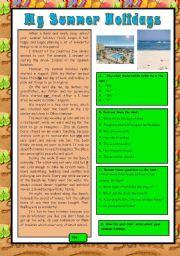 English Worksheet: My summer holidays - 1