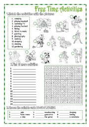 English Worksheets: Free Time Activities - 2 pages + KEY