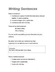 English Worksheets: Writing sentences