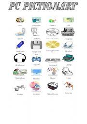 English Worksheet: COMPUTER PARTS PICTIONARY