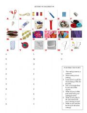 English worksheets: sewing worksheets